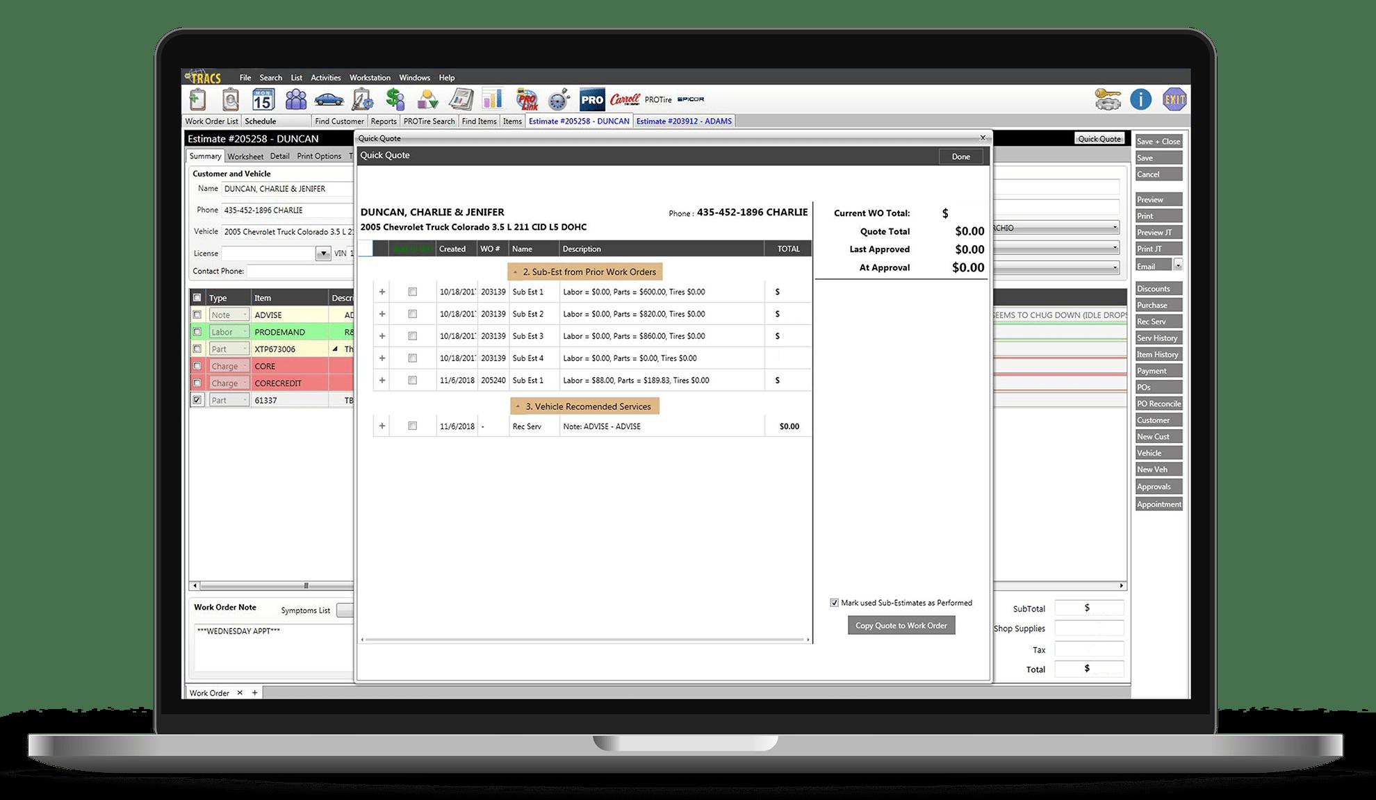 vehicle information screenshot